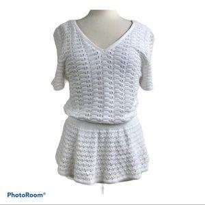 Talbots white crochet top large